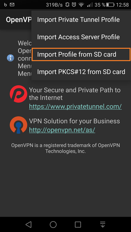 Screenshot of importing the profile from SD card.