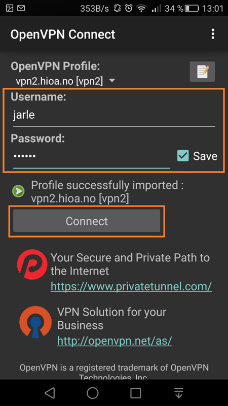 Screenshot of adding username and password and where to click the button Connect.
