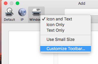 Skjermbilde: Select Windows icon and right-click for menu. Click Customize Toolbar