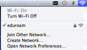 Screenshot: Check the status for eduroam (Wi-Fi)