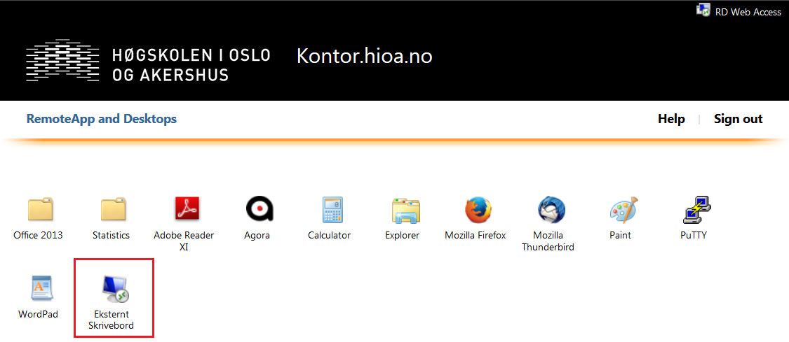 Screenshot: Open Eksternt Skrivebord - the icon (square in red)