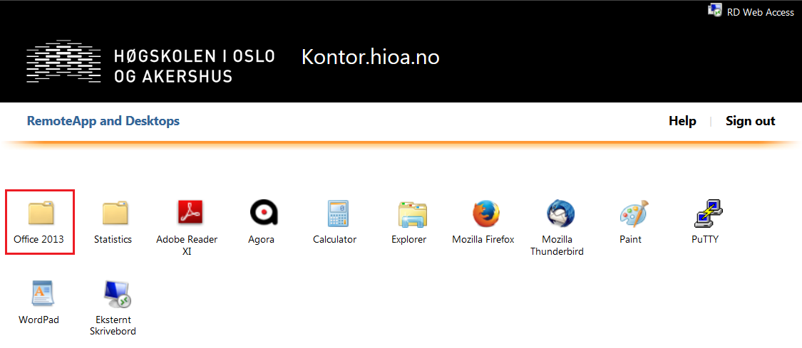 Skjermbilde: Ikon for Office-programmer via kontor.hioa.no