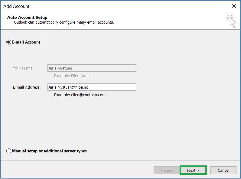 Skjermbilde: Start Outlook installation