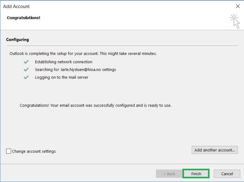 Skjermbilde: Avslutt Outlook-oppsettet